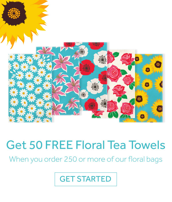 50 Free tea towels when you order 250+ Floral Jute Bags mobile