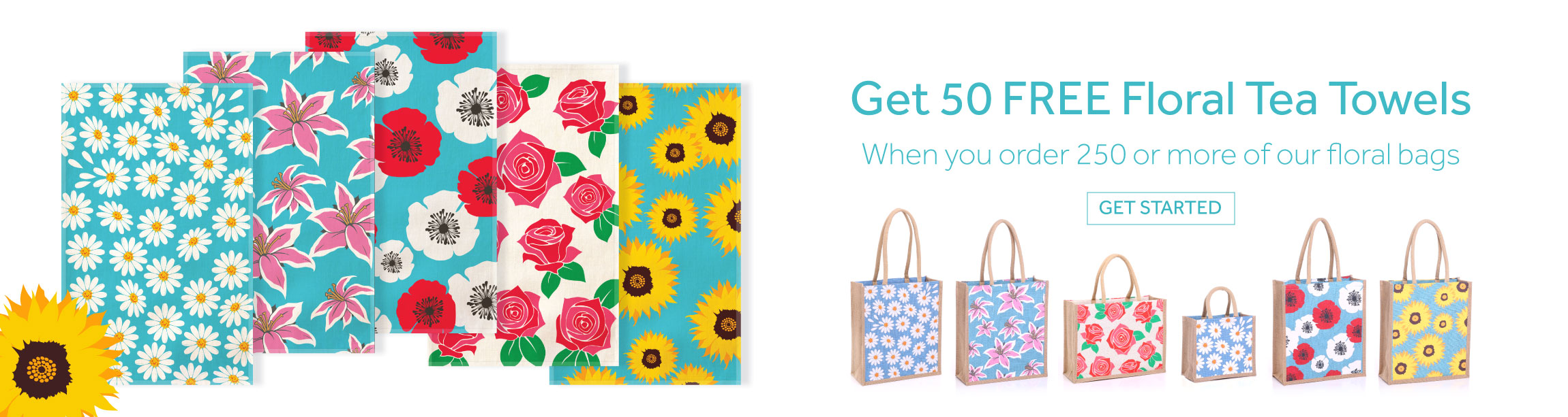 50 Free tea towels when you order 250+ Floral Jute Bags