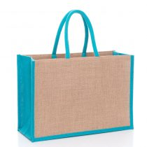 large natural jute bags with turquoise gussets