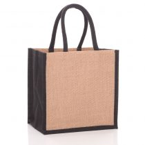 square white jute bag with black gussets
