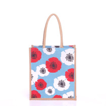 Large Floral Poppy Jute Bags