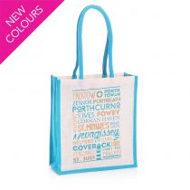 Typographic Jute Bags blue and white