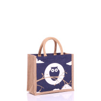 Small Navy Owl Jute Bags with Natural Panels