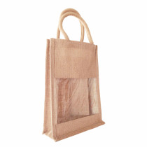 Double Wine Bottle Carrier Jute Bags