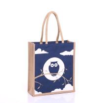 Large Navy Owl Jute Bags