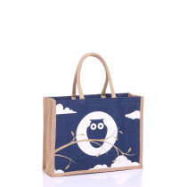 Medium Navy Owl Jute Bags with Natural Panels