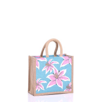 Lily design small jute bag