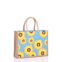Sunflower design medium jute bag