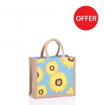 Small Sunflower Jute Bags with Natural Panels