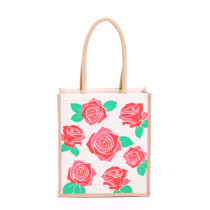 Large Roses Jute Bags