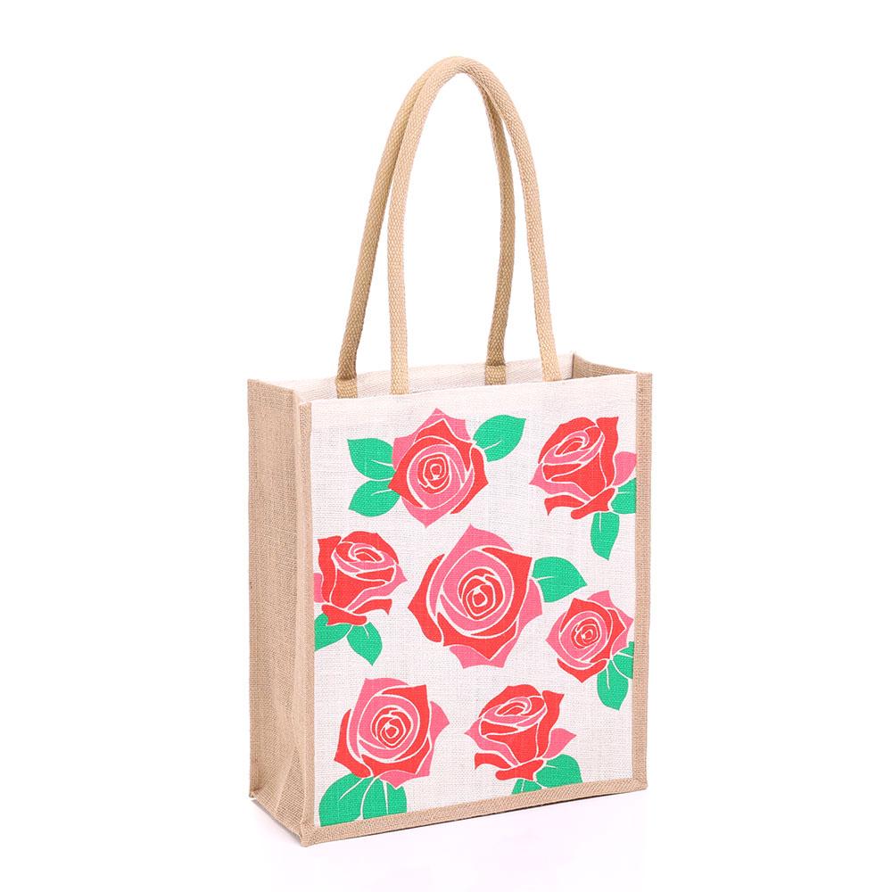 Large Rose Jute Bag Gjrose L Gojute International Ltd