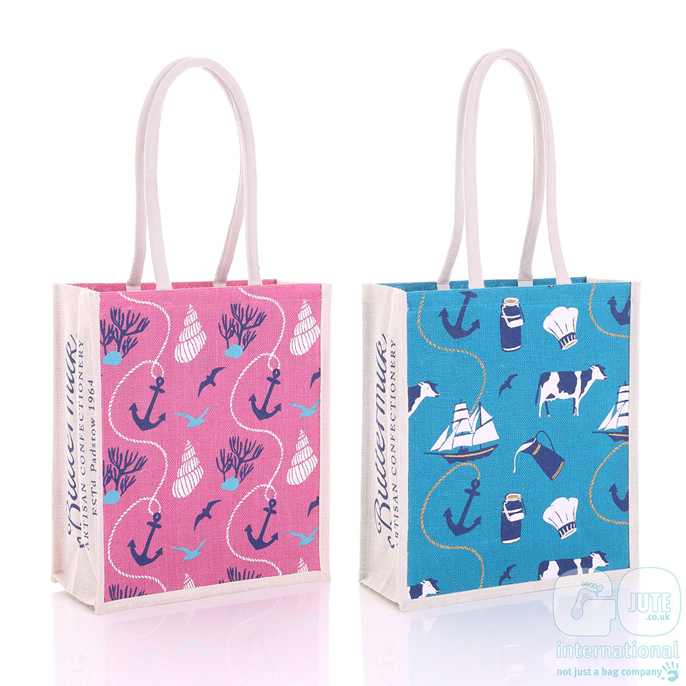 Buttermilk branded and sea salt fudge jute bags
