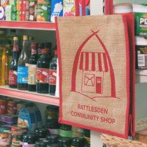 rattlesden community shop jute bags