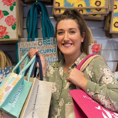 Grace with her favourite tote bags