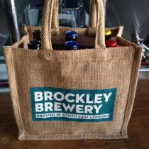 Brockley Brewery 6 bottle beer jute bag set up as a festive gift set.