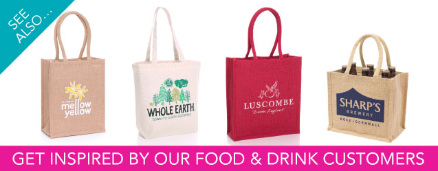 Food and drink jute bag examples